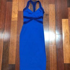 Bebe blue midi mesh BodyCon dress Size Small